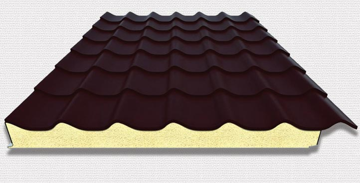 Metallic tile with DIALCOP® insulation